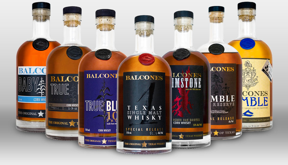 Balconies line of Texas Whiskeys