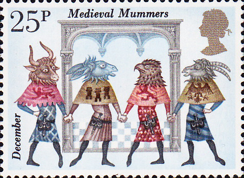 uk-stamp-medieval-mummers-from-folklore